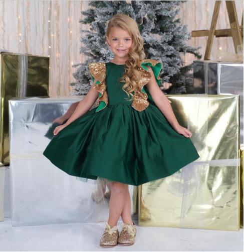 New Green Satin Gold Bowknot Flower Girl Dress Christmas Princess Birthday Ball