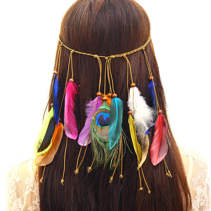 Vintage Women Hair Accessories Bohemian Style Hairbands Peacock Feather Colorful Indian Hair Bands Nationality Style   Headwear