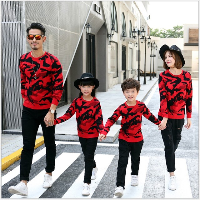Family Matching Clothes 2017 Winter Christmas Camouflage Sweater Long Sleeve Mother And Daughter Son Outfits