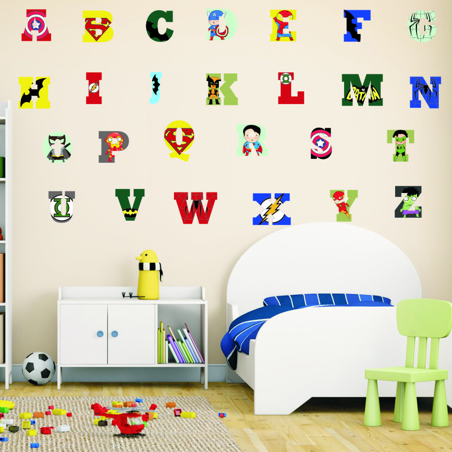 Creative Super Hero Style Alphabet ABC Wall Decal 26 Letters DIY Art Vinyls Stickers Nursery Kids Room Home Decorative Wallpaper (4)
