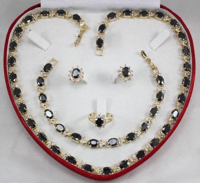 Livraison gratuite Merveilleux naturel Noir agate 18 K GP collier bracelet boucle d'oreille Anneau Parures