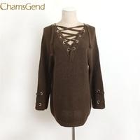 מגשר Chamsgend חדש עיצוב נשים V צוואר חוצה תחרה עד ארוך סוודר סרוג Loose מעיל 70922 זרוק משלוח
