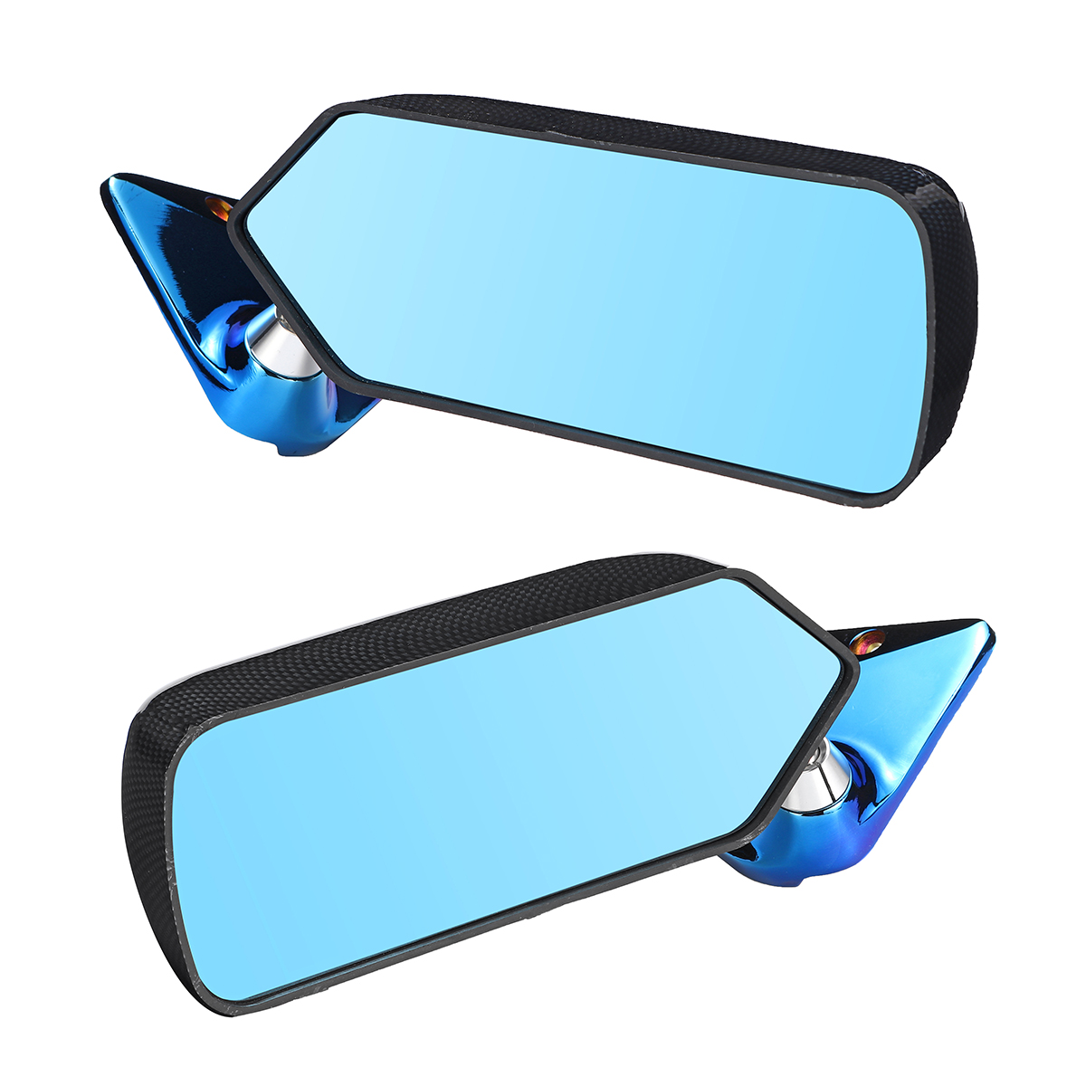 2x Universal Car Side Mirror Rearview Wing Retro Mirror Metal Bracket Side Mirror Set F1 Style Carbon Fiber Look Blue2x Universal Car Side Mirror Rearview Wing Retro Mirror Metal Bracket Side Mirror Set F1 Style Carbon Fiber Look Blue