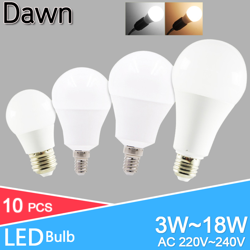 10pcs/lot LED Bulb Dimmable Lamps E27 E14 Real Power 20W 18W 15W 12W 9W 5W 3W 220V 240V Light Bulb Smart IC Lampada LED Bombilla