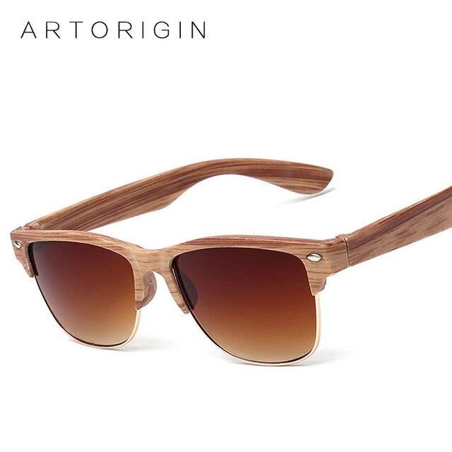 fef6804789 Gafas De Sol De madera con medio marco para hombre y mujer, gafas De madera