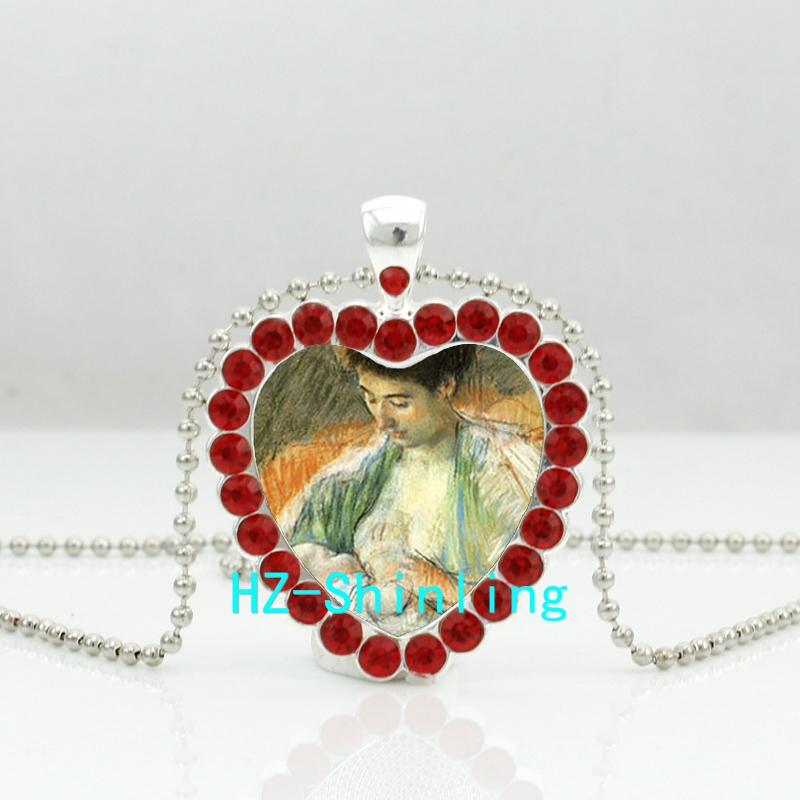 HZShinling Mother Nursing her Baby Crystal Necklace Breast Feeding Heart Pendant Jewelry Crystal Pendant Vintage Necklace HZ6