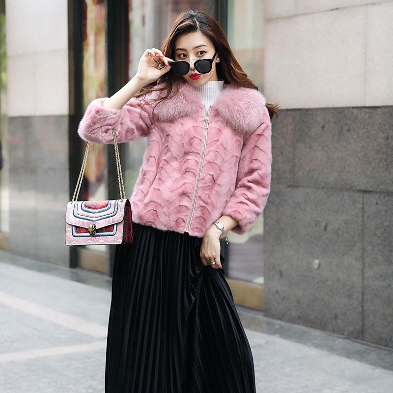 pink De Vison brown Veste Fourrure Jv03774 Nouveau White wOZYqn1
