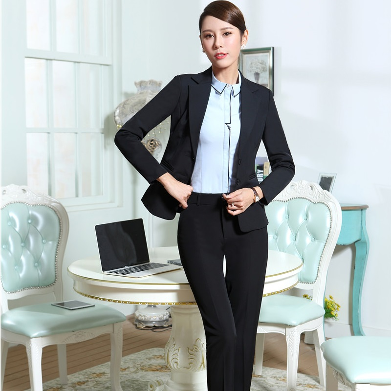 Plus Size Novelty Black Slim Fashion Formal Pantsuits With Jackets And Pants For Business Women Ladies Pants Suits Blazers