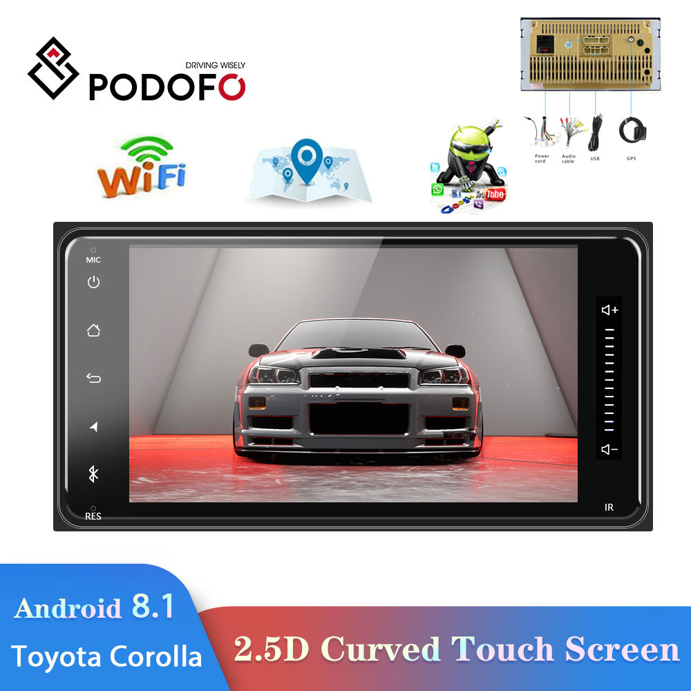 Podofo 2 din android 8.1 Universal Car <font><b>Multimedia</b></font> Player Car Radio Stereo for <font><b>Toyota</b></font> VIOS CROWN CAMRY HIACE PREVIA <font><b>COROLLA</b></font> RAV4 image