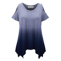Summer Graduated Color Womens O-neck Tops Fashion Women Plus Size Short Sleeve Casual Shirt For Beauty