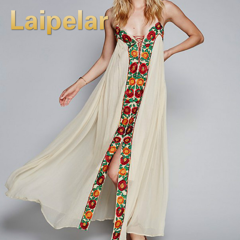 Laipelar <font><b>2018</b></font> <font><b>Summer</b></font> <font><b>Boho</b></font> <font><b>Dresses</b></font> Strapless Floral Embroidery <font><b>Sexy</b></font> White Maxi <font><b>Dress</b></font> long <font><b>women</b></font> <font><b>Dresses</b></font> hippie chic Vestido Robes image