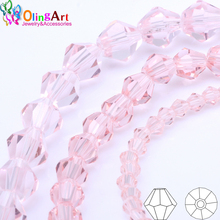 OlingArt 3mm/4mm/6mm/8mm Bicone Upscale Austrian Multicolored crystal Pink color beads Loose bead bracelet DIY Jewelry Making