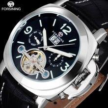 2016 FORSINING люксового бренда мужчины часы черный серебристый автоматические Механические турбийон наручные часы моды кожаный ремешок