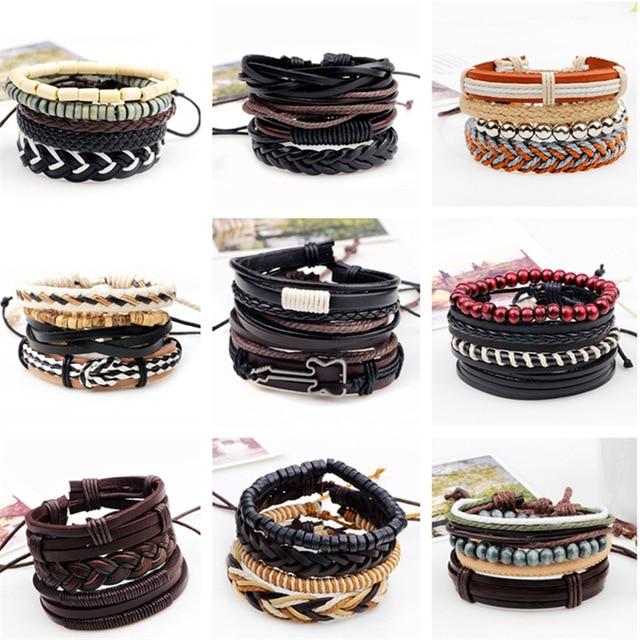 3,4,5pcs/set Series Boho Gypsy Hippie Punk Leather Wooden Beads Layers Bracelets