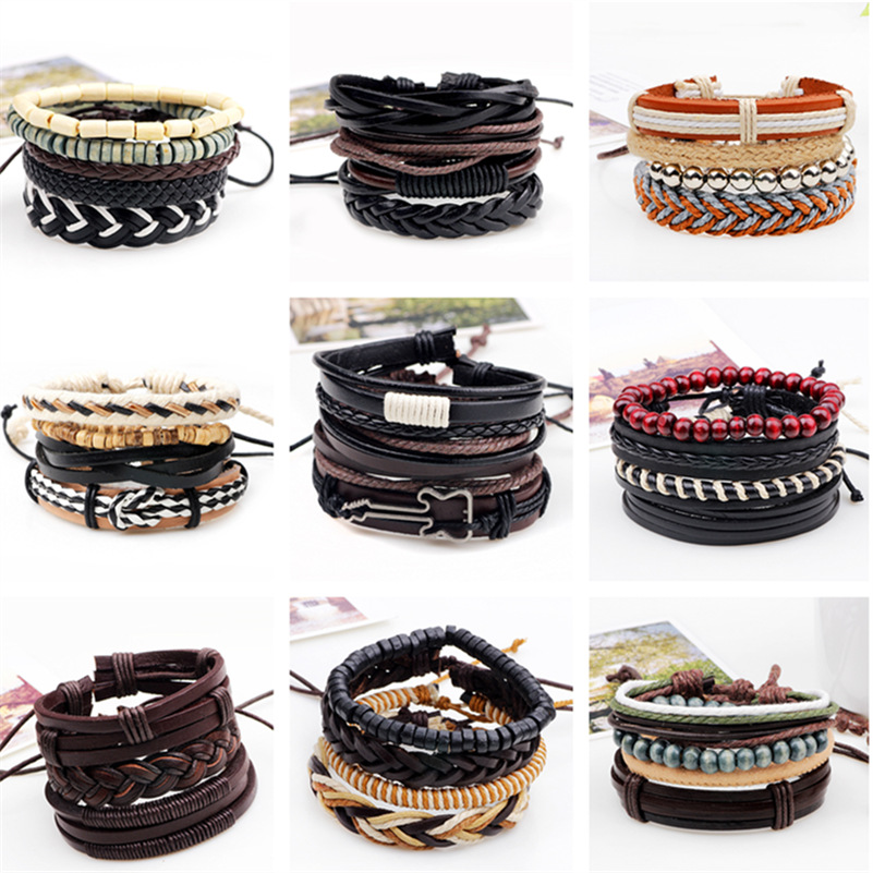 3,4,5pcs/set Series Boho Gypsy Hippie Punk Beige Cord Wrap Black Brown Leather Wooden Beads Layers Stack Bracelets Sets for Man