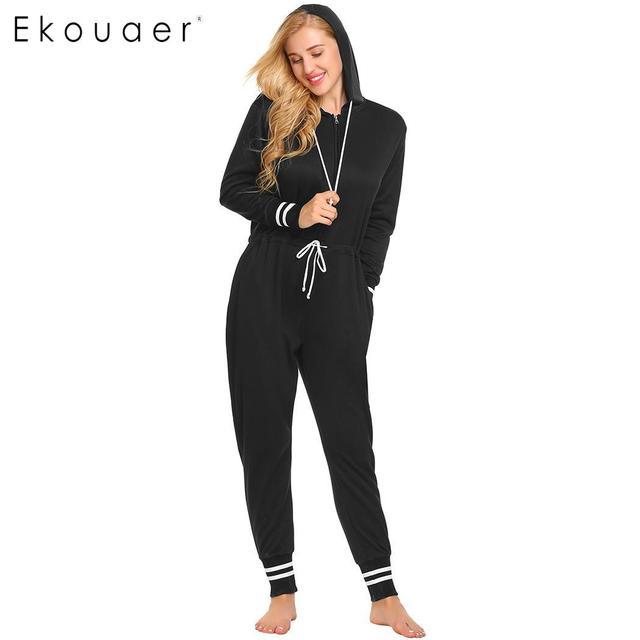 a0363a02d0b Ekouaer Casual One Piece Pajamas Women Onesie Nightwear Soft Thickened  Pockets Hooded Pajamas Loungewear Sleepwear S-XXL
