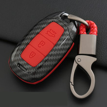 ABS Carbon Fiber Shell+Silicone Smart Remote Fob Key Case Shell Cover Look For hyundai KONA Encino 2018 IX35