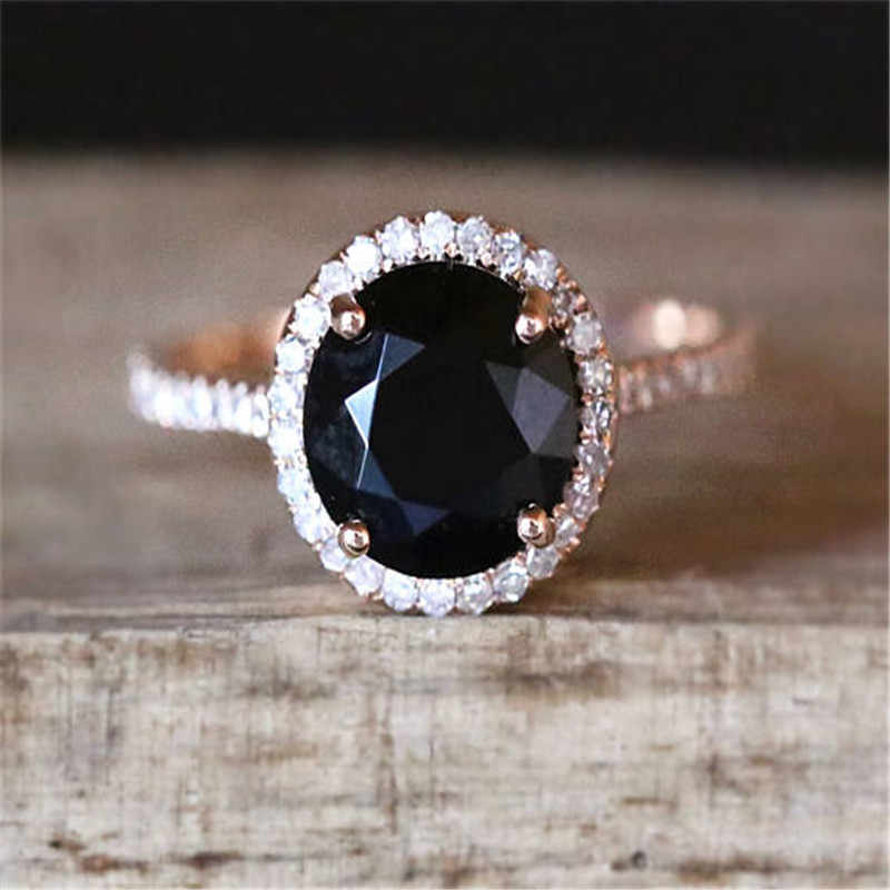 831b1b310edeb Classic Black Stone Rings for Women Wedding Engagement Ring Crystal Ring  Rose Gold Luxury Jewelry Bague Femme Anillos Mujer O45