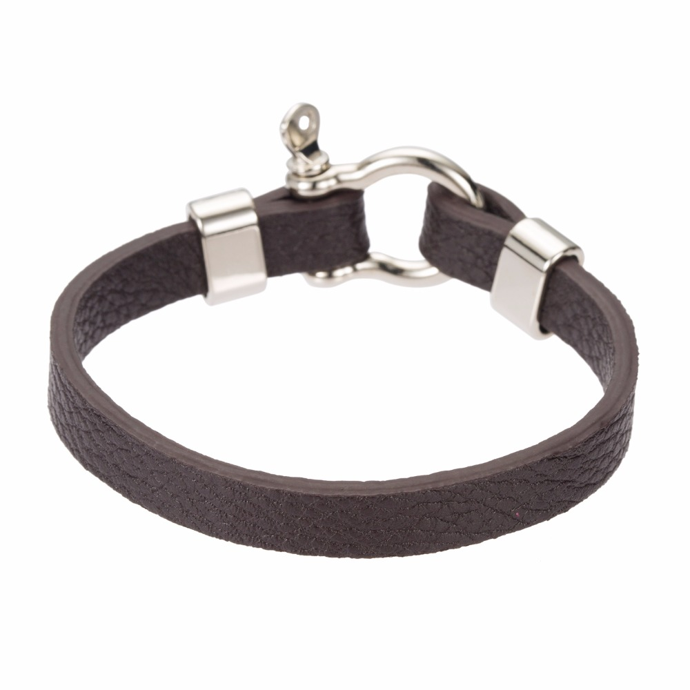 2018 Newest Bracelet Leather with Stainless Steel Lock Clasp Mens