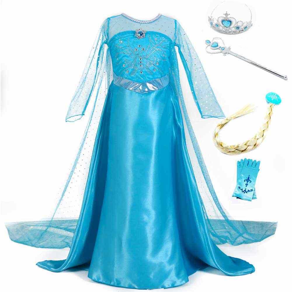 בנות נסיכת אנה אלזה קוספליי ליל כל הקדושים חג המולד המפלגה אלזה נסיכת בני נוער מפואר Vestidos ריקוד שמלה