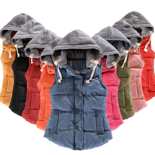 11-20 t Mùa Đông Trẻ Em Ấm Bông Vest Chắp Vá Không Tay Trùm Đầu Cổ Áo Giản Dị Tuổi Teen Cô Gái Lớn Áo Ghi Lê Trẻ Em quần áo