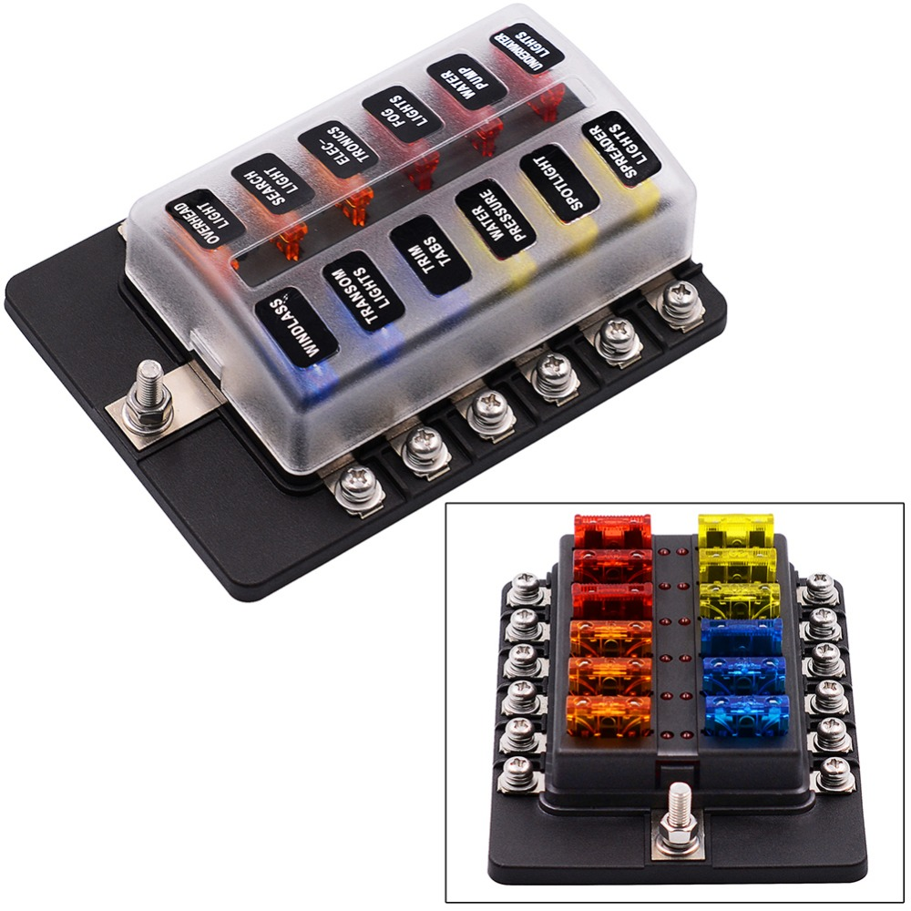 Fuse 1 Input 12 Output fuse box with LED Indicator Fashional Practical fuse Box holder Screw fuse box with 1 input automotive relay box \u2022 wiring diagrams j Fuze Xbox at mifinder.co