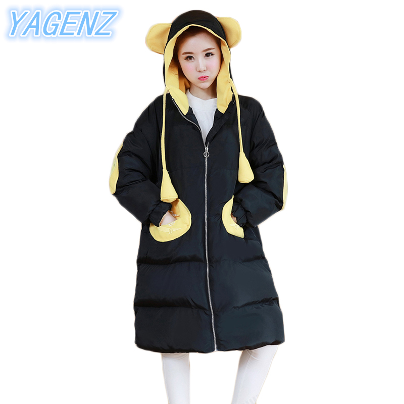 YAGENZ Winter Large Size Women Cotton Down Jacket 2017 Fashion Hooded Cotton Coat Women Loose Middle-Long Overcoat Women Clothes winter new women loose coat fashion cute parkas hooded jacket overcoat long section casual down cotton large size coat cm1560