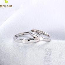100% 925 Sterling Silver Rings For Women Heart-shaped Stitching Lovers' Couple Open Ring Men Femme Fine Jewelry Student Gift недорого