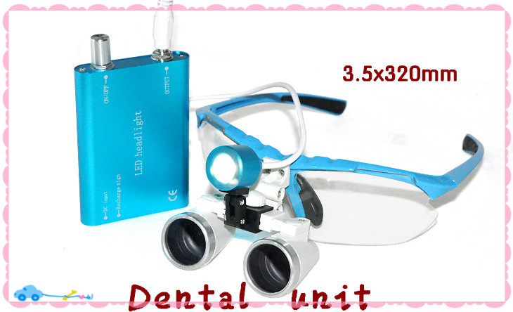 Portable Blue Color Dentist Dental Surgical 3.5X320mm Binocular Loupes Optical Glass and  LED Head Light Lamp xm portable dental binocular loupes 3 5x