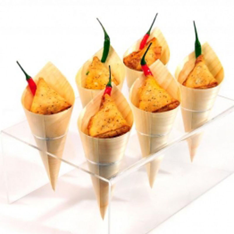 Free Shipping Party Wedding Suppliers Disposable Pine Wood Cone, Sushi,Salad/Dessert/French Fries, 7 Inch, 200 Count Box