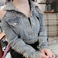 Заклепки без бретелек джинсовые короткие куртки женские Высокого класса Европейский Американский ночной клуб сексуальный панк-рок тяжелый металл заклепки короткая куртка