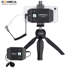 Comica CVM-WS50C 6 Channels Smartphone Wireless Lavalier Lapel Microphone System for iPhone Samsung Huawei Phones/DSLR Cameras digitalfoto comica cvm d03 dual head lavalier removeable smartphone dslr camera microphone mic recorder for interview meeting