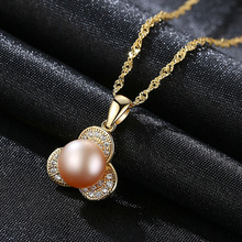 Creative Flower Simulated Pearl 925 Sterling Silver Necklaces & Pendants Cubic Zirconia Cute for Women
