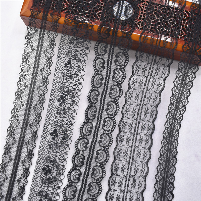 Beautiful 10yards Pure Black Lace Ribbon 14-45mm Wide Lace Trimming Sewing DIY Embroidery Clothing Wedding Decoration Trim Party
