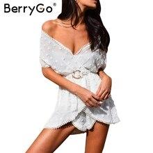Berrygo перспектива белый шифон комбинезон женские пикантные глубоким v-образным вырезом пояса партия Спецодежда летняя пляжная уличная комбинезоны