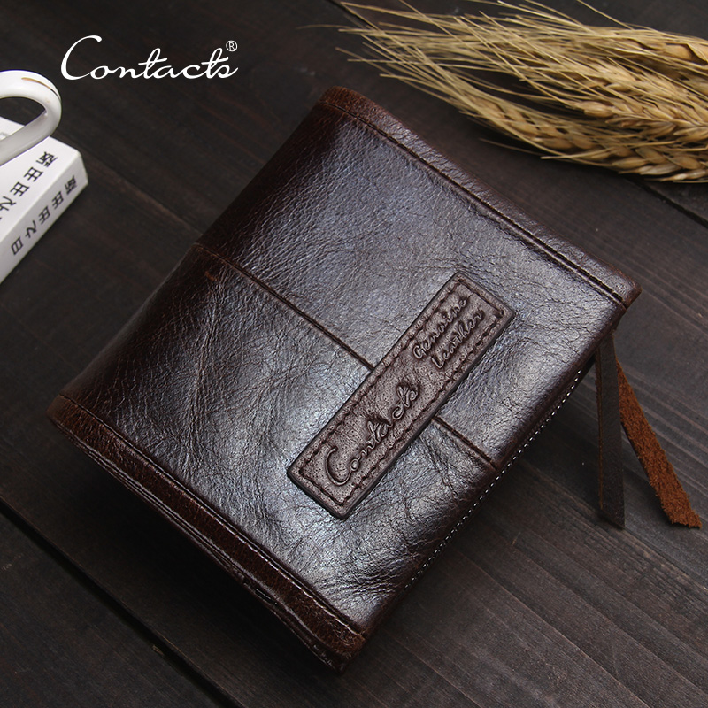 CONTACT'S Small Vintage Wallet Brand High Quality Fashion Designer 100% Genuine Cowhide Leather Men Short Coin Purse Wallet 2017 genuine cowhide leather brand women wallet short design lady small coin purse mini clutch cartera high quality