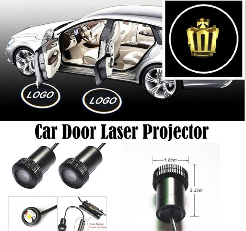 Foresee 2*Universal Ghost Shadow Logo welcome Car LED Door Light Laser Courtesy Slide Projector logo Emblem light For CROWN