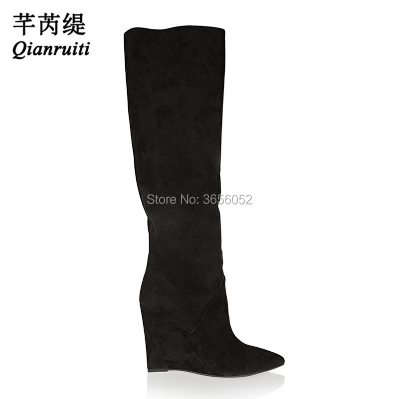 7d5e24949809 Qianruiti 2018 New Autumn Wedges Shoes Woman Botas Mujer Black Gray Suede  Women Long Booties Pointed