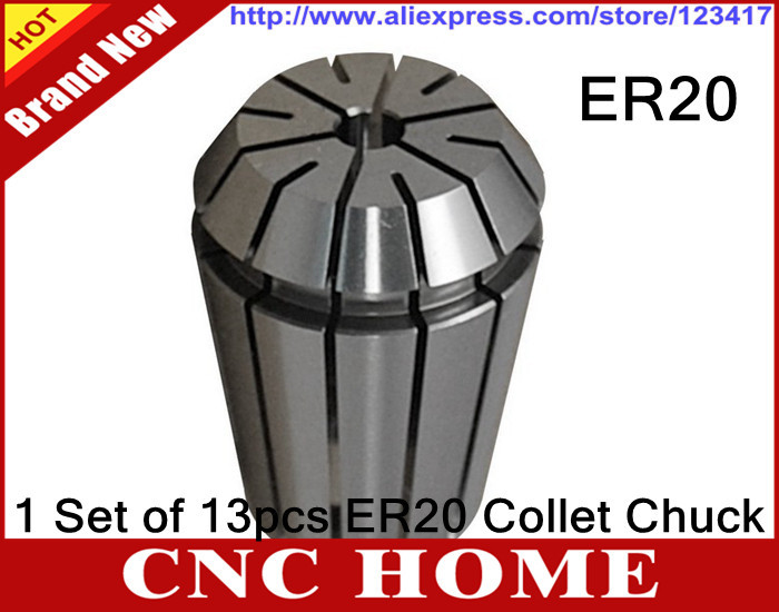Free shipping Full Sets ER20 1 13mm 13pcs Beating 0 1mm Precision Spring Collet for CNC