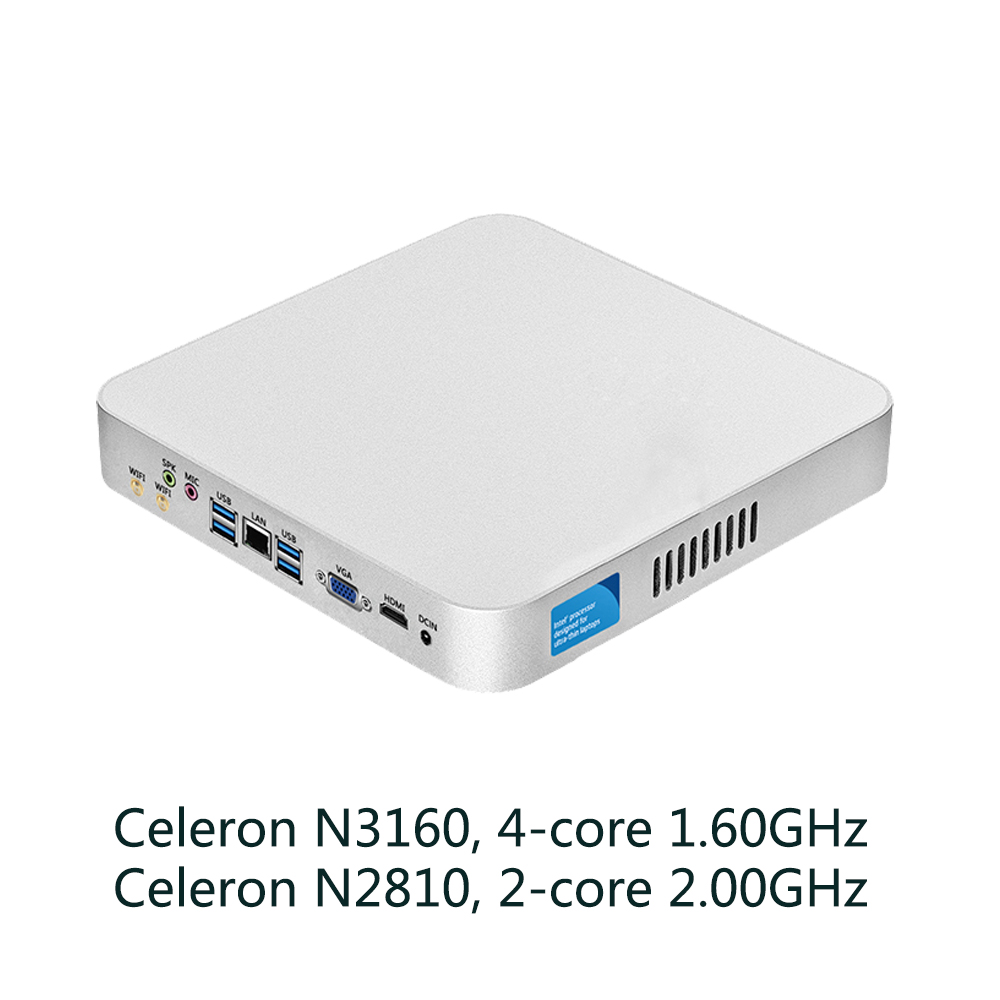 Fanless Mini PC Intel Celeron N3160 Quad-Cores 1.60GHz Mini Computer Windows 10 8GB Ram Computer Mini WIFI HDMI USB3.0 intel celeron cpu mini pc n3160 quad cores mini desktop computer with fanless windows 10 ddr3 8gb ram office computer