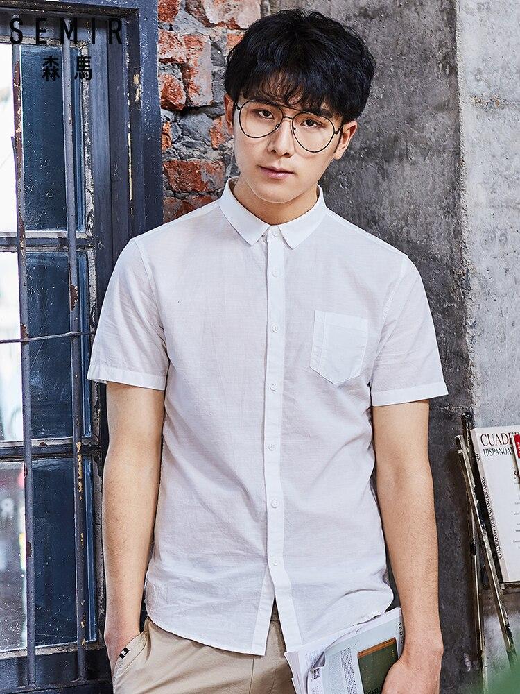 SEMIR New 2019 Men's Pure Cotton Shirt Slim Fit Fashion Short Sleeve Casual Business Shirts Men Dress Shirts High Quality Camisa