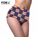 FORUDESIGNS 3D Novelty Flag Pattern Underwear Women Female Summer Breathable Panties High-rise Body Shaping Briefs Ultra Thin