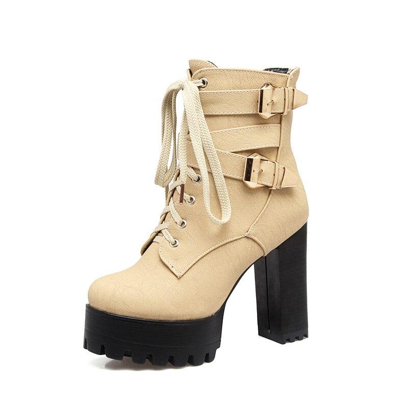 black Plate À Bottes Chaussures Haute brown forme Femmes Hauts yellow Beige Taille Talons En 33 Hiver Cheville D'hiver 46 Grande Peluche q4SxU1