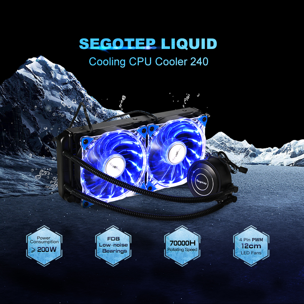 Segotep Liquid Freezer Water Liquid Cooling System CPU Cooler Fluid Dynamic Bearing 120mm Big Fans Blue LED Light for pc case liquid cooling cold plate system for power modules