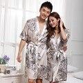 Весна и лето шелковый халат комплект мужчина и женщина с коротким рукавом шелковые пижамы костюмы элегантный цветок халат костюм пижама Z1974