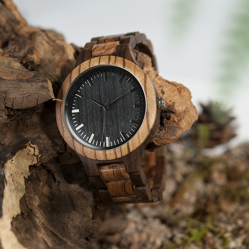 BOBO BIRD Wood Watch Meeste Walnut Ebony puidust rihma kvarts analoog - Meeste käekellad - Foto 2