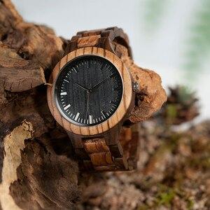 Image 2 - ボボ鳥ウッド腕時計メンズクルミ黒檀木製ストラップクォーツ腕時計男性 erkek kol saati 御代田ギフトレロジオ masculino