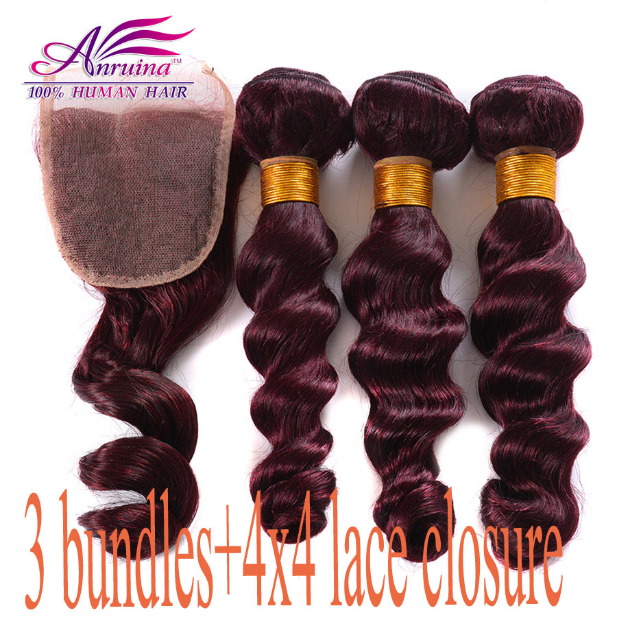 Cheapest New Mink Burgundy Peruvian Loose Wave With Closure 3 bundles with lace closure 8A Red 99j virgin human hair Weave