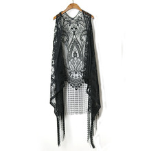 Crochet Lace Harajuku  Holiday Blouses Boho Tops Women Sleeveless Tassles Hollow Out Blouse Beach Kimono Cardigan