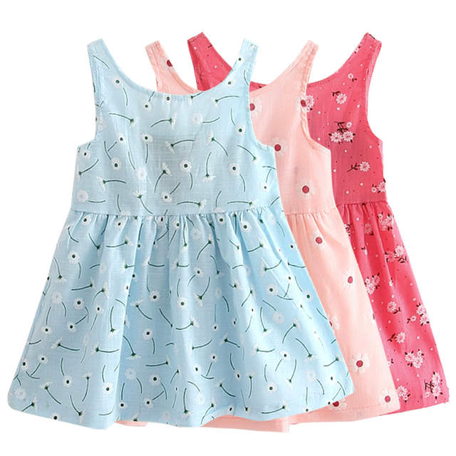 ea4bd68b7 Online Shop Summer Children Dress Kids Girls Sleeveless Flower Print ...
